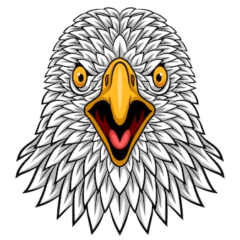 Diseño de mascota de cabeza de águila de dibujos animados
