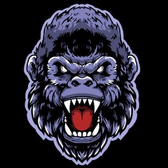 Diseño de mascota cabeza de gorila