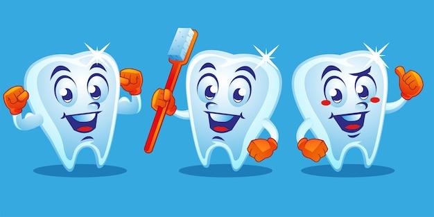 Diseño de mascota dental de dientes sanos.
