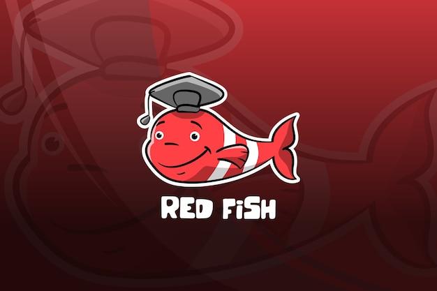 Diseño de mascota de deportes de pescado rojo. graduación