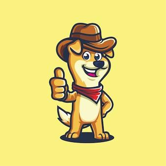 Diseño de mascota de dibujos animados de pequeño perro vaquero pulgar arriba