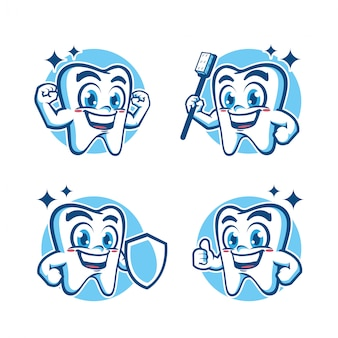 Diseño de mascota de dientes sanos