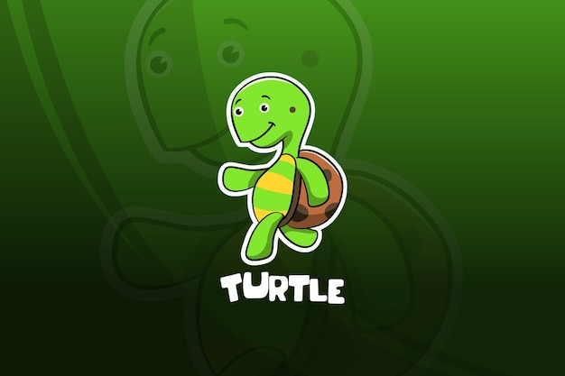 Diseño de mascota de esport de tortuga. corriendo