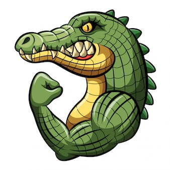 Diseño de mascota fuerte de cocodrilo de dibujos animados