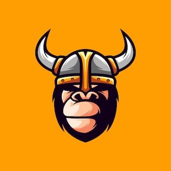 Diseño de mascota de gorila vikingo