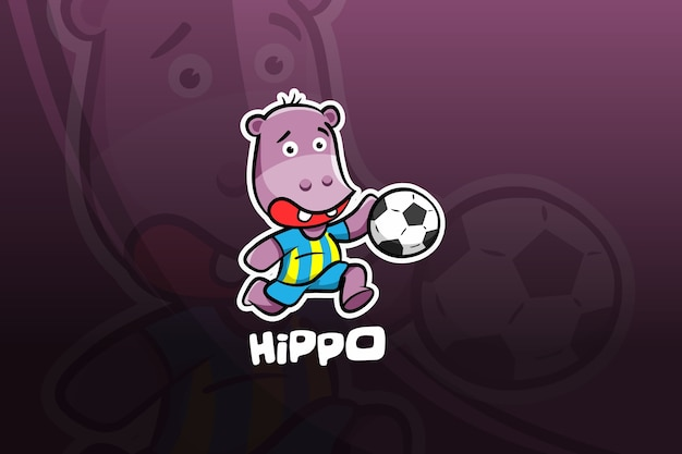 Diseño de mascota hippo esport. fútbol americano