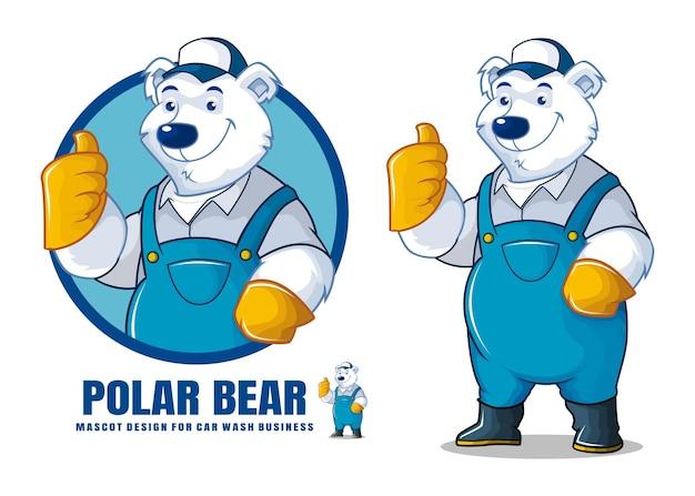 Diseño de mascota de lavado de autos de oso polar