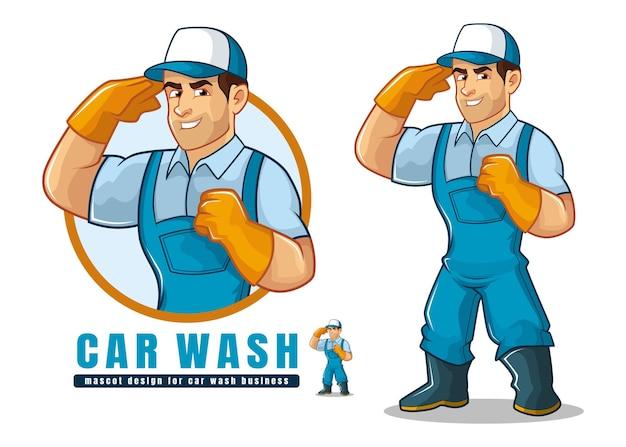 Diseño de mascota de lavado de autos