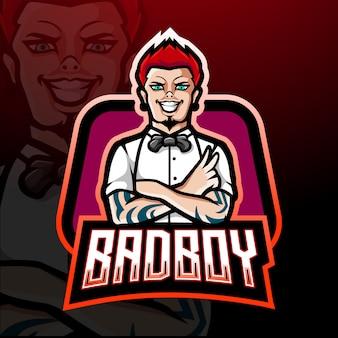 Diseño de mascota de logo de bad boy esport