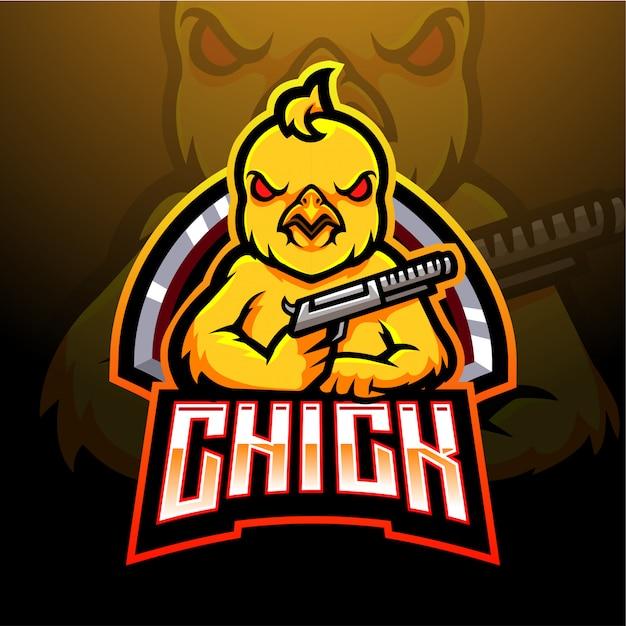 Diseño de mascota con logo de chick esport