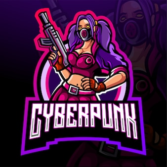 Diseño de mascota con logo de cyberpunk esport
