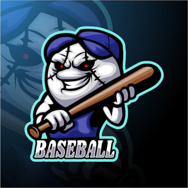 Diseño de mascota de logo de esport de béisbol