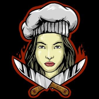 Diseño de mascota de logo de mujer chef