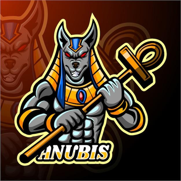 Diseño de la mascota del logotipo de anubis esport