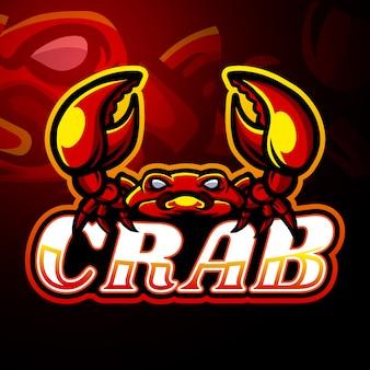 Diseño de mascota de logotipo de cangrejo esport