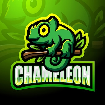 Diseño de la mascota del logotipo de chameleon esport.