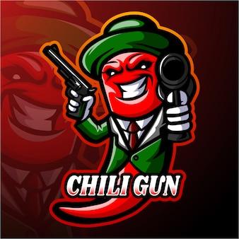 Diseño de la mascota del logotipo de chili esport