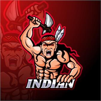 Diseño de mascota de logotipo de esport indio