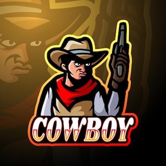 Diseño de mascota de logotipo de esport de vaquero