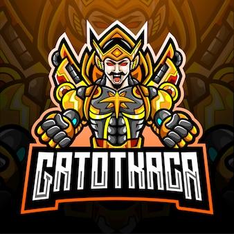 Diseño de la mascota del logotipo de gatot kaca esport