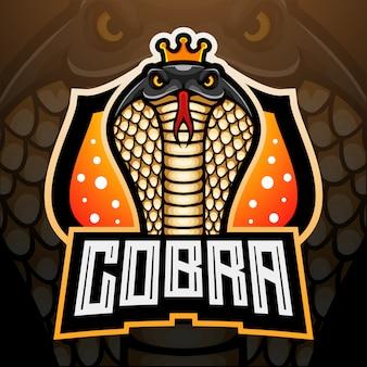 Diseño de la mascota del logotipo de king cobra esport
