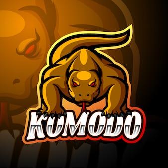 Diseño de la mascota del logotipo de komodo dragon esport