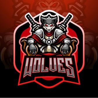 Diseño de la mascota del logotipo del lobo emperador esport