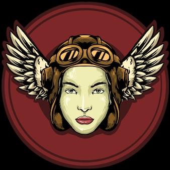 Diseño de mascota de logotipo de mujer piloto