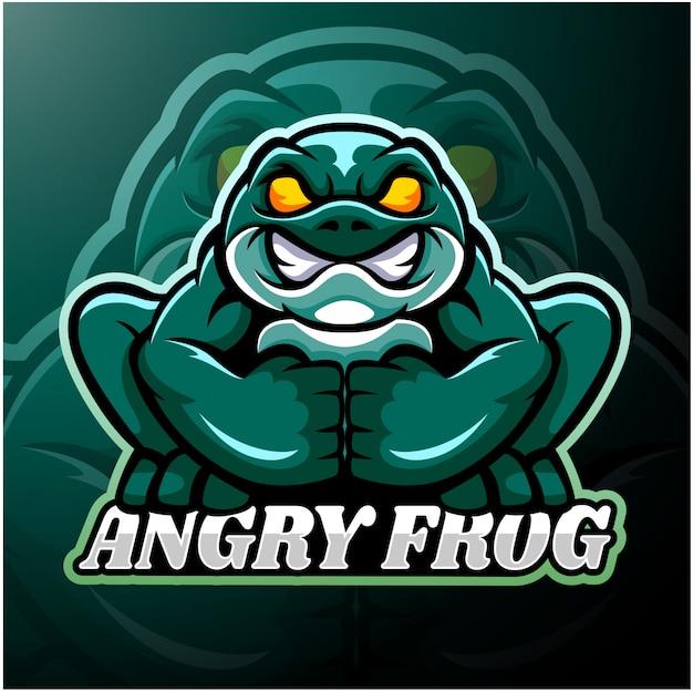Diseño de mascota de logotipo de rana esport