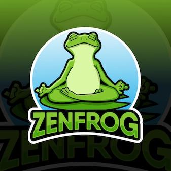 Diseño de la mascota del logotipo de la rana zen