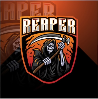 Diseño de la mascota del logotipo de skull reaper