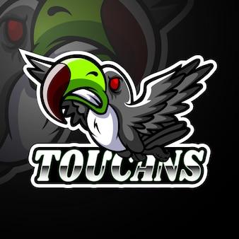 Diseño de la mascota del logotipo de toucan esport