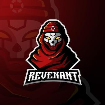 Diseño de mascota de personaje de juego apex de revenant. logotipo de la mascota para deportes, juegos, equipo