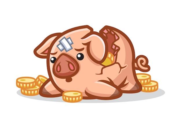 Diseño de mascota piggy bank