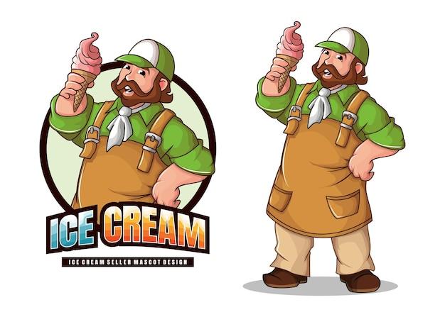 Diseño de mascota de vendedor de helados.