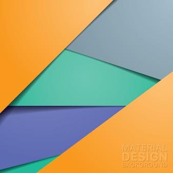 Diseño de material moderno inusual con colores naranja y azul