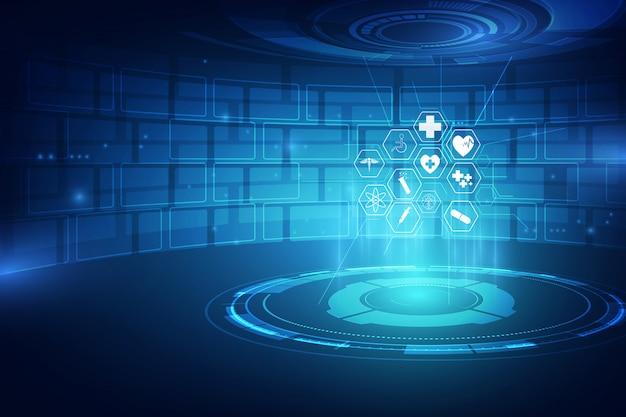 Diseño médico del fondo del concepto de la innovación del modelo del icono de la atención sanitaria