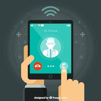 Diseño de médico online con tablet