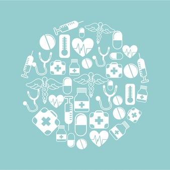 Diseño médico sobre fondo azul ilustración vectorial