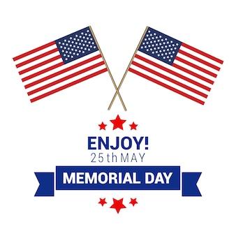 Diseño para el memorial day con dos banderas americanas