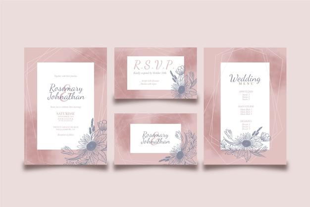 Diseño para menú de boda e invitación.