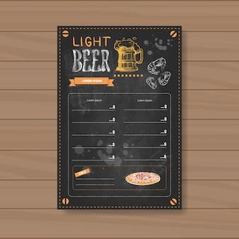 Diseño de menú de cerveza ligera para restaurante cafe pub chalked