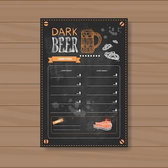 Diseño de menú de cerveza oscura para restaurante café pub tiza