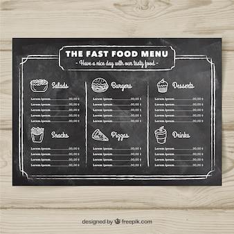 Diseño de menú de comida rápida en estilo de tiza