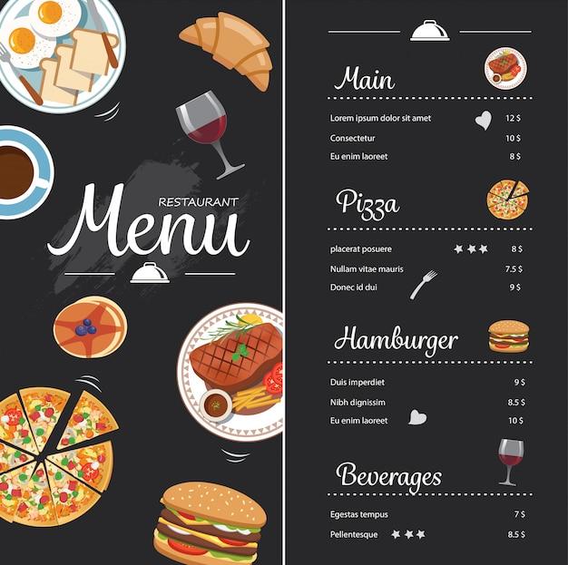Diseño de menú de comida de restaurante con pizarra