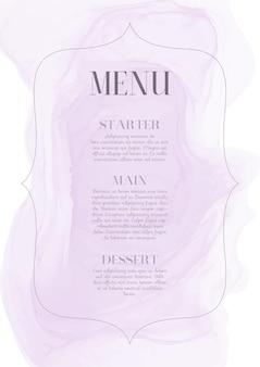 Diseño de menú elegante con diseño de acuarela pintado a mano