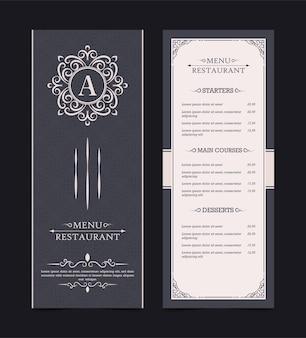 Diseño de menú con elementos ornamentales
