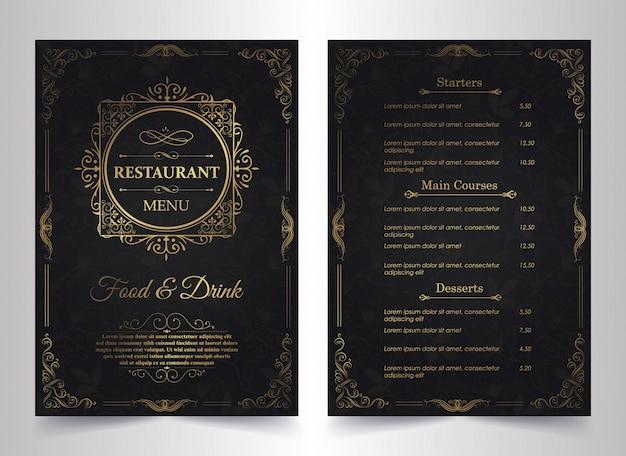 Diseño de menú con elementos ornamentales.