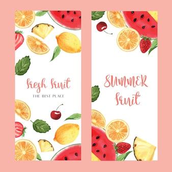 Diseño de menú de frutas tropicales, fruta de la pasión, sandía de verano, mango, fresa, naranja.
