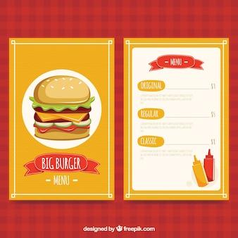 Diseño de menú de hamburguesa grande